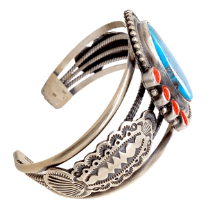 Native American Bracelet - Navajo Kingman Turquoise And Red Coral Sterling Silver Bracelet - Mike Calladitto