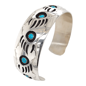 Native American Bracelet - Navajo Kingman Turquoise Bear Claw Bracelet - Pearlene Spencer -Small