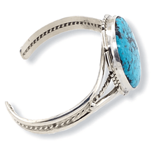 Load image into Gallery viewer, Native American Bracelet - Navajo Kingman Turquoise Bracelet With Silver Twist Wire- Samson Edsitty