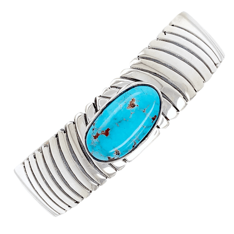 Image of Native American Bracelet - Navajo Kingman Turquoise Desert Waves Pawn Bracelet