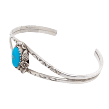 Load image into Gallery viewer, Native American Bracelet - Navajo Kingman Turquoise In Floral Silver Setting Bracelet