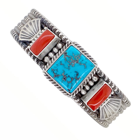 Native American Bracelet - Navajo Kingman Turquoise & Red Coral Stamped Sterling Silver Cuff Bracelet - Mike Calladitto - Native American