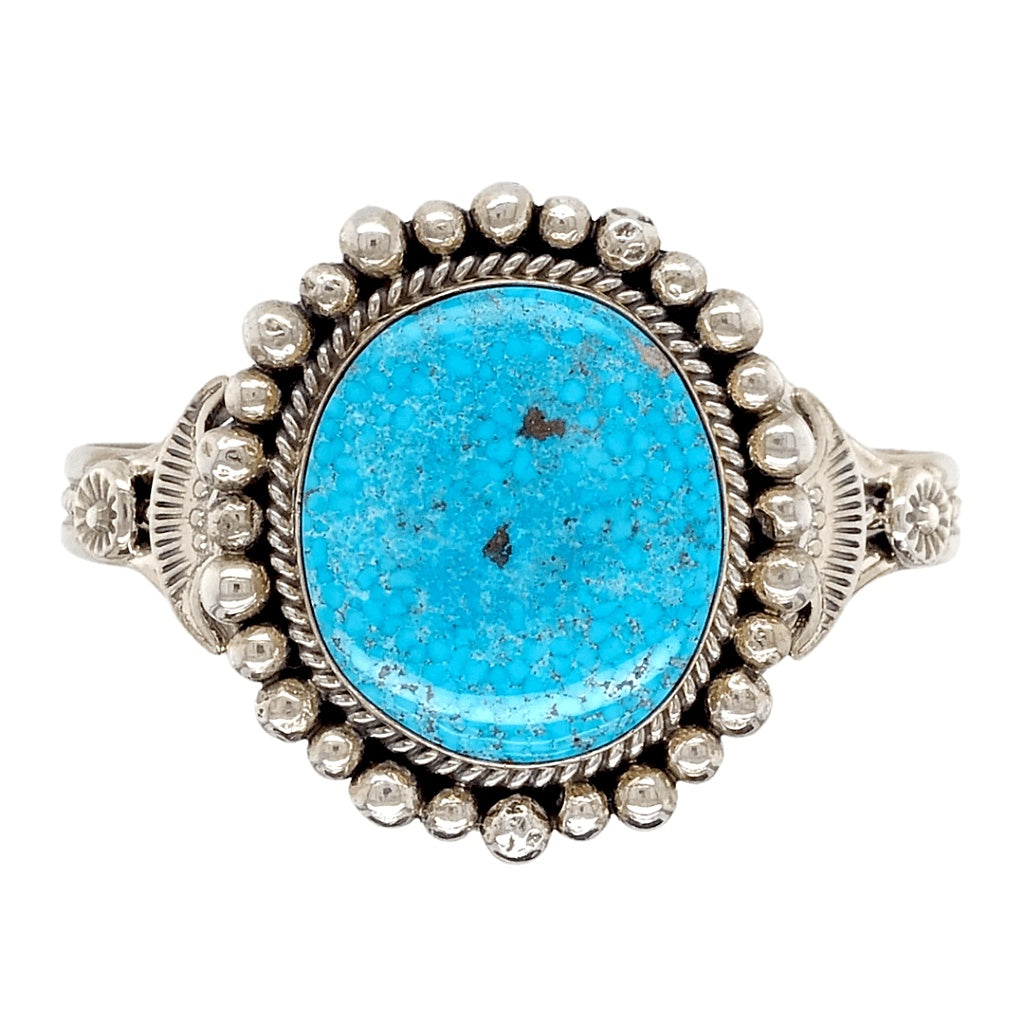 Native American Bracelet - Navajo Kingman Turquoise Rodeo Queen Embellished Bracelet - Mary Ann Spencer