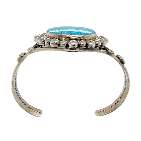 Image of Native American Bracelet - Navajo Kingman Turquoise Rodeo Queen Embellished Bracelet - Mary Ann Spencer