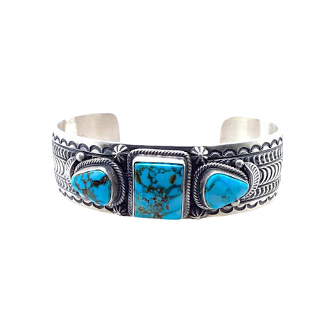Native American Bracelet - Navajo Kingman Turquoise Triple Stone Stamped Sterling Silver Cuff Bracelet - June Defarito - Native American
