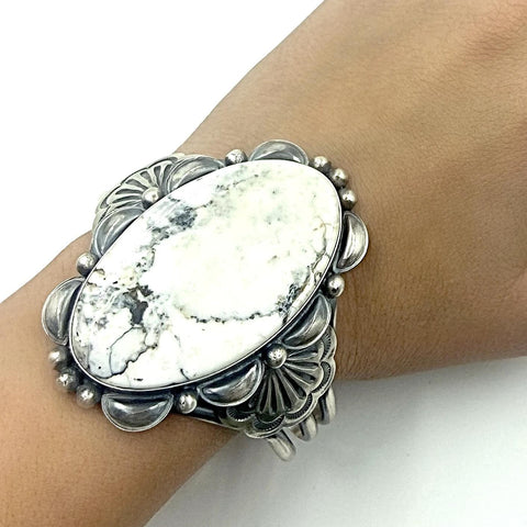 Native American Bracelet - Navajo Large White Buffalo Oval Stone Scalloped Border Sterling Silver Cuff Bracelet - Mary Ann Spencer - Native American