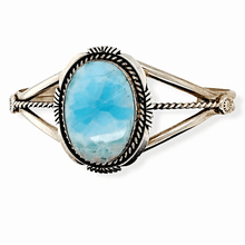 Load image into Gallery viewer, Native American Bracelet - Navajo Larimar Bracelet With Sterling Silver Ribbon Band