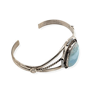Native American Bracelet - Navajo Larimar Bracelet With Sterling Silver Ribbon Band