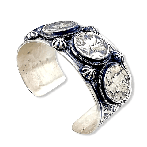 Image of Native American Bracelet - Navajo Liberty Dime Cuff Bracelet With 1930s And 1940s Dimes  - Paul Livingston