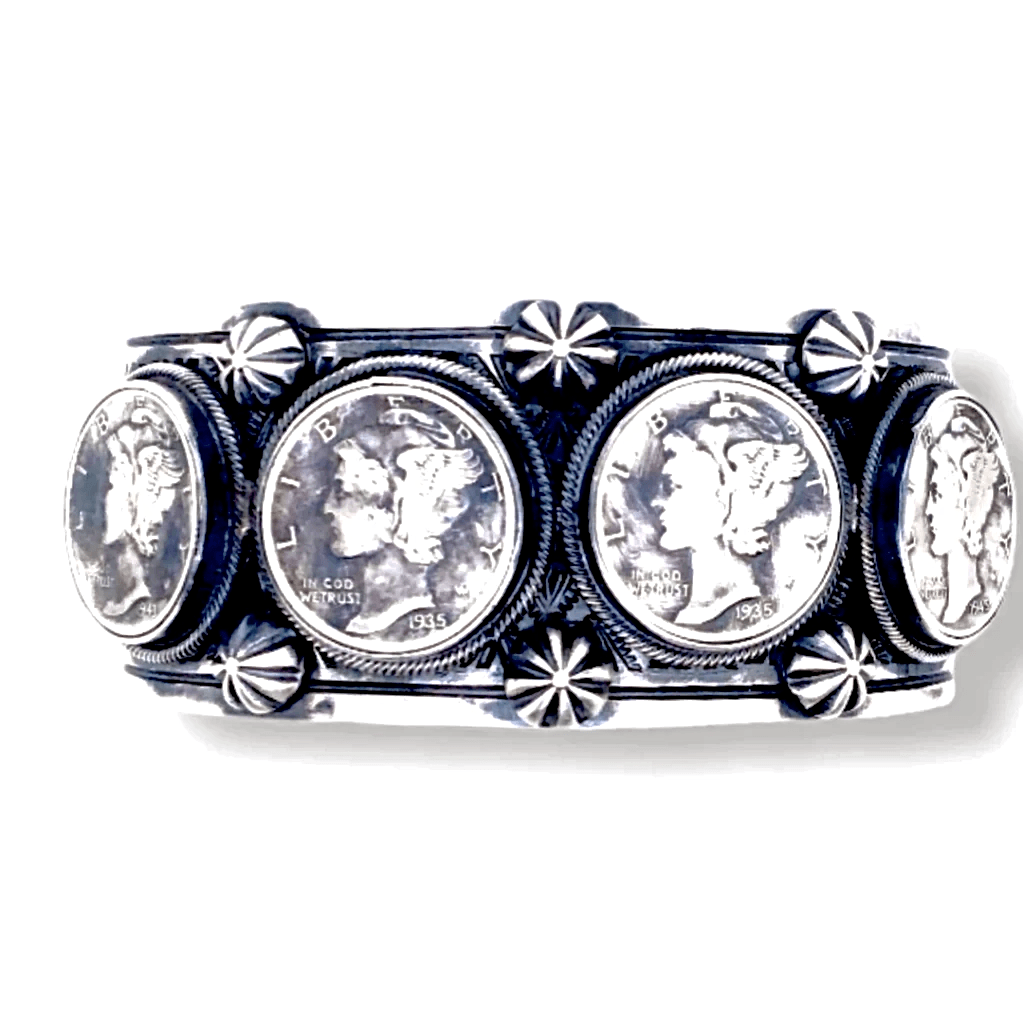 Native American Bracelet - Navajo Liberty Dime Cuff Bracelet With 1930s And 1940s Dimes  - Paul Livingston