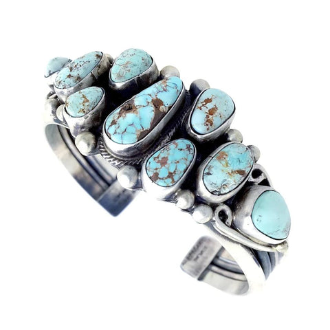 Image of Native American Bracelet - Navajo Light Dry Creek Turquoise Cluster Sterling Silver Cuff Bracelet - Kathleen Chavez - Native American