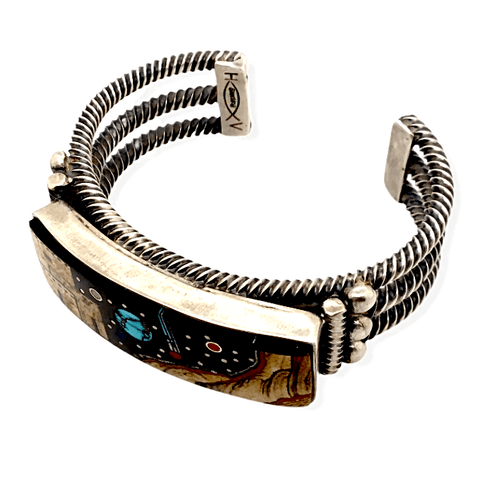 Image of Native American Bracelet - Navajo Micro Inlay Night Sky Bracelet