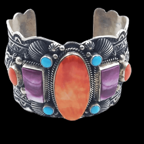 Image of Native American Bracelet - Navajo Multi-Color Bracelet Wide Cuff