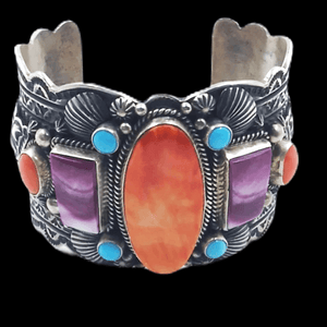 Native American Bracelet - Navajo Multi-Color Bracelet Wide Cuff