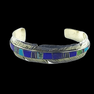 Native American Bracelet - Navajo Multi-Color Inlay Feather Bracelet