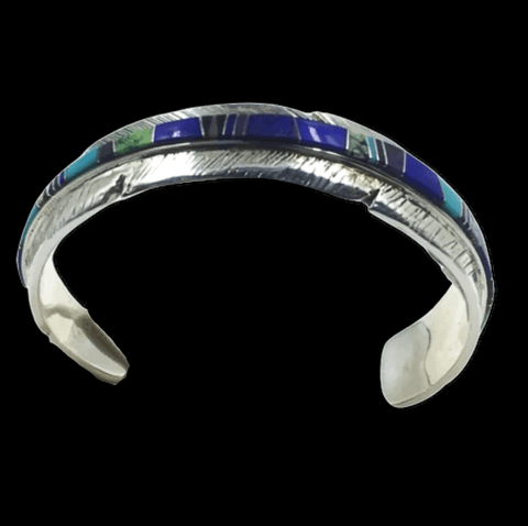 Image of Native American Bracelet - Navajo Multi-Color Inlay Feather Bracelet