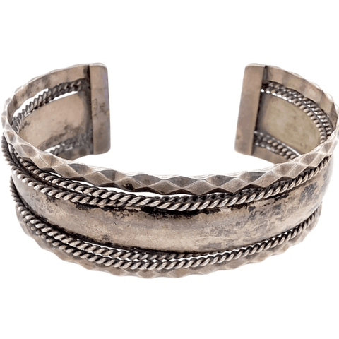 Native American Bracelet - Navajo Old Pawn Braided Embellished Silver Bracelet