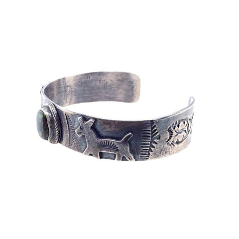 Native American Bracelet - Navajo Old Pawn Green Turquoise Sterling Silver Stamped Animals Cuff Bracelet - Native American