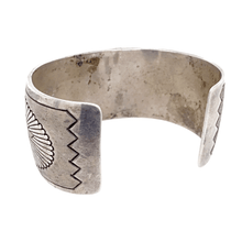 Load image into Gallery viewer, Native American Bracelet - Navajo Old Pawn Stamped Pawn Silver Cuff Bracelet