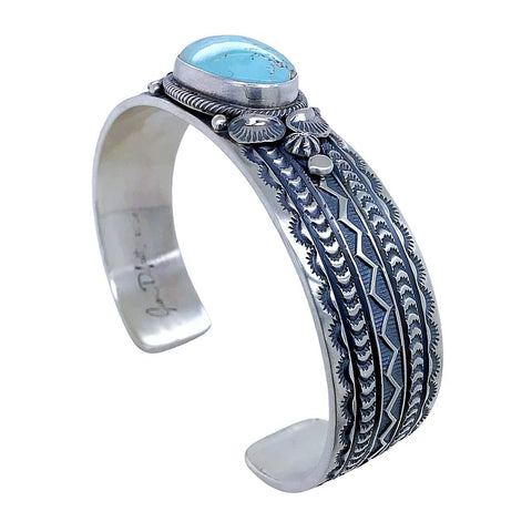 Image of Native American Bracelet - Navajo Oval Dry Creek Turquoise Hand-Stamped Sterling Silver Cuff Bracelet- Native American