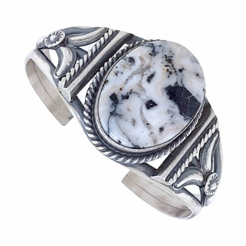 Image of Native American Bracelet - Navajo Oval White Buffalo Stone Twist-Wire Sterling Silver Bracelet - Samson Edsitty - Native American