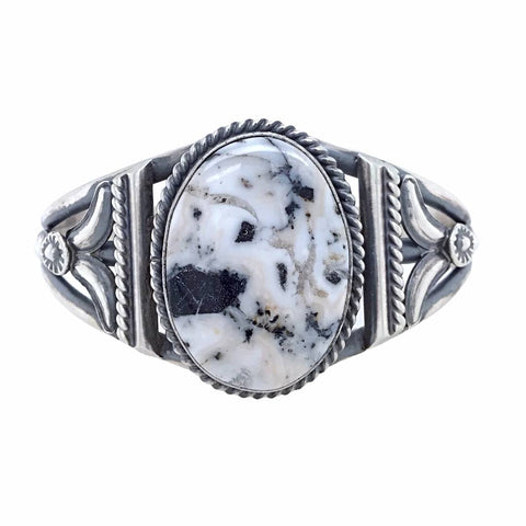 Native American Bracelet - Navajo Oval White Buffalo Stone Twist-Wire Sterling Silver Bracelet - Samson Edsitty - Native American