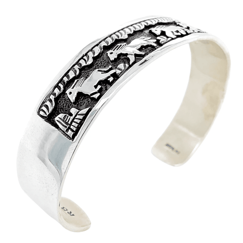 Native American Bracelet - Navajo Overlay Sterling Running Horses Storyteller Bracelet - Randy Billy