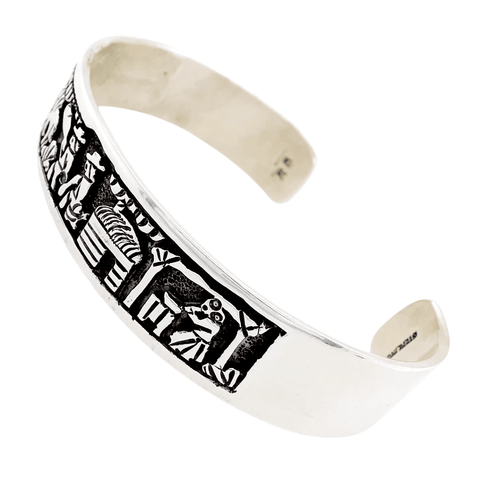 Native American Bracelet - Navajo Overlay Sterling Storyteller Bracelet - Randy Billy