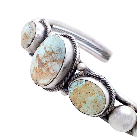Native American Bracelet - Navajo Pale Dry Creek Turquoise Row Sterling Silver Drop Cuff Bracelet - Native American