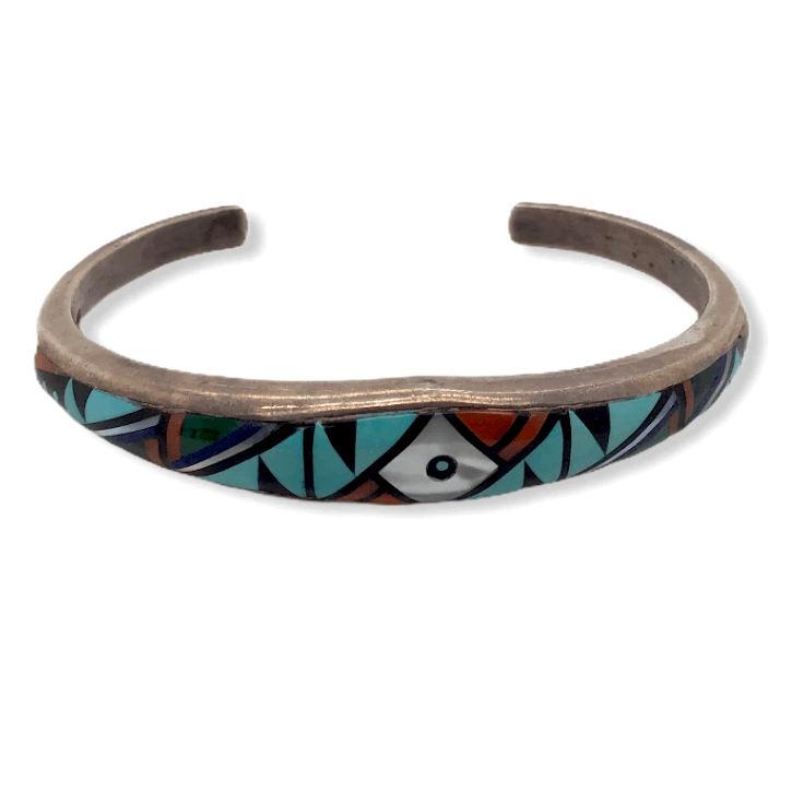 Native American Bracelet - Navajo Pawn Inlay Multi Color Bracelet