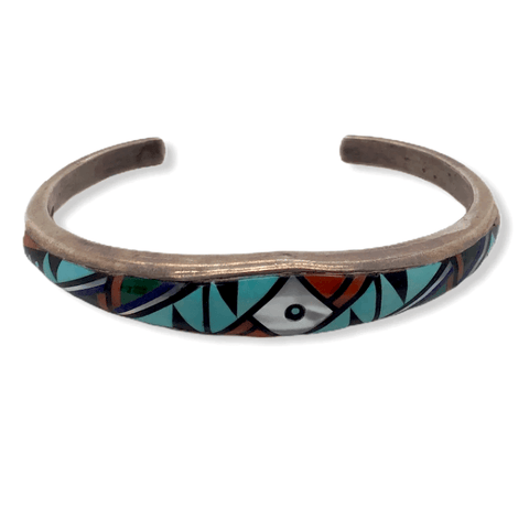 Image of Native American Bracelet - Navajo Pawn Inlay Multi Color Bracelet