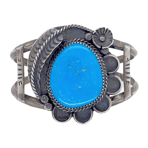 Image of Native American Bracelet - Navajo Pawn Kingman Turquoise And Silver Bracelet