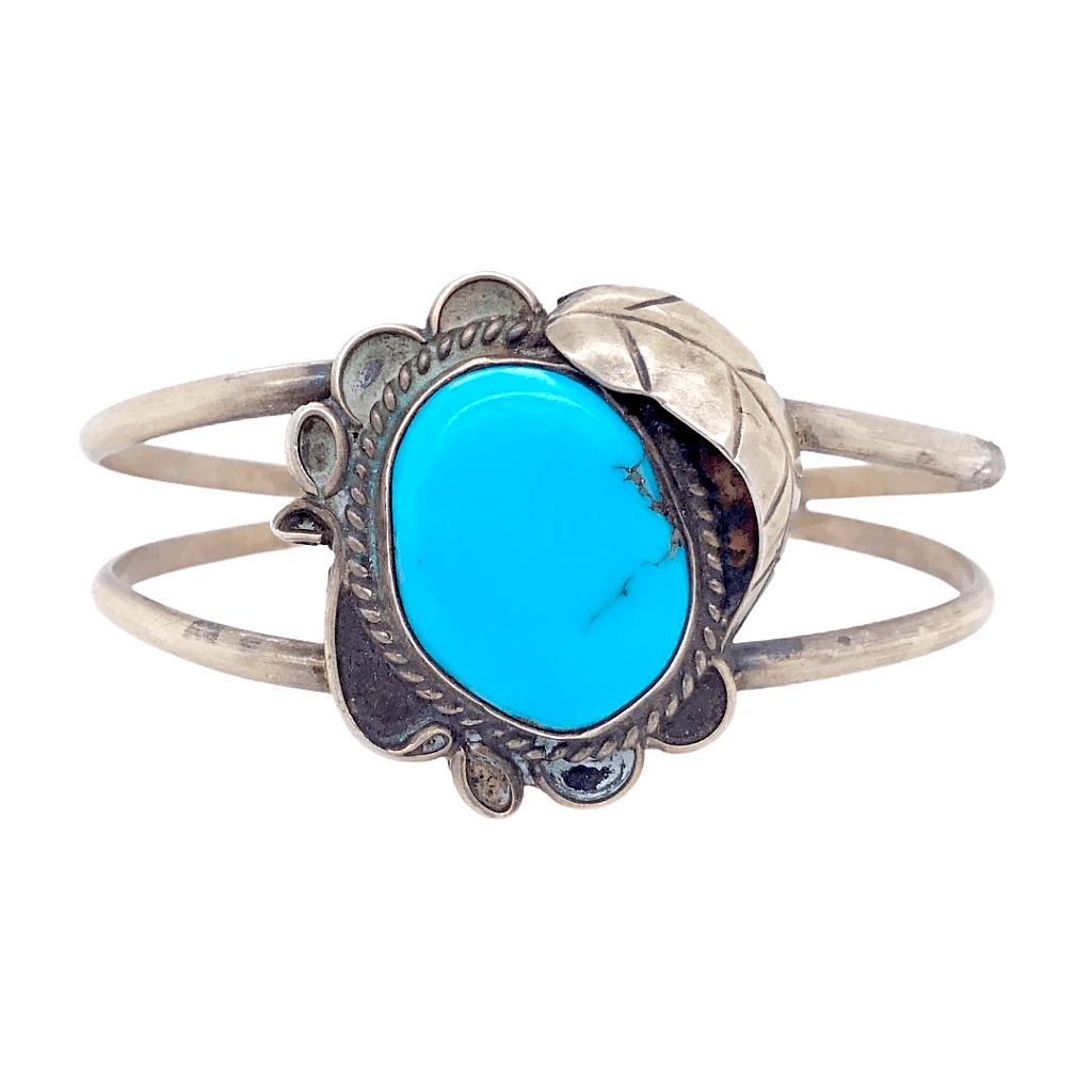 Native American Bracelet - Navajo Pawn Kingman Turquoise With Embellished Leaf Setting Bracelet