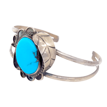 Load image into Gallery viewer, Native American Bracelet - Navajo Pawn Kingman Turquoise With Embellished Leaf Setting Bracelet