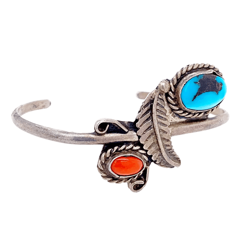 Image of Native American Bracelet - Navajo Pawn Leaf Embellishment Coral And Turquoise Bracelet