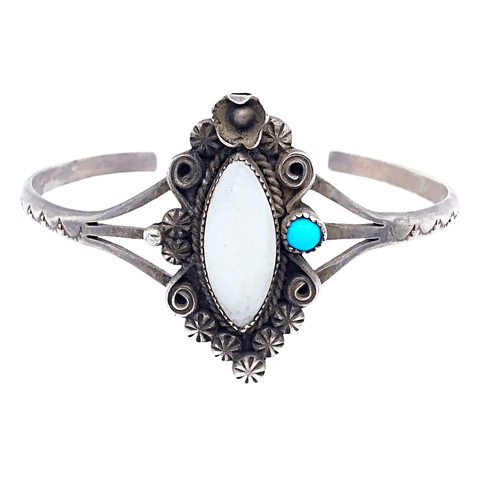Image of Native American Bracelet - Navajo Pawn Mother Of Pearl And Turquoise Embellished Bracelet