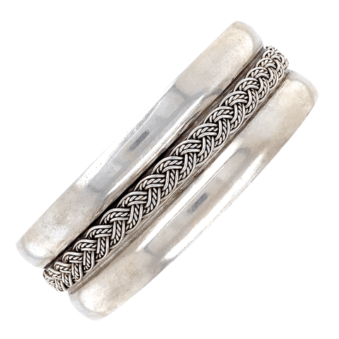 Image of Native American Bracelet - Navajo Pawn Princess Braid Embellished Sterling Silver Bracelet