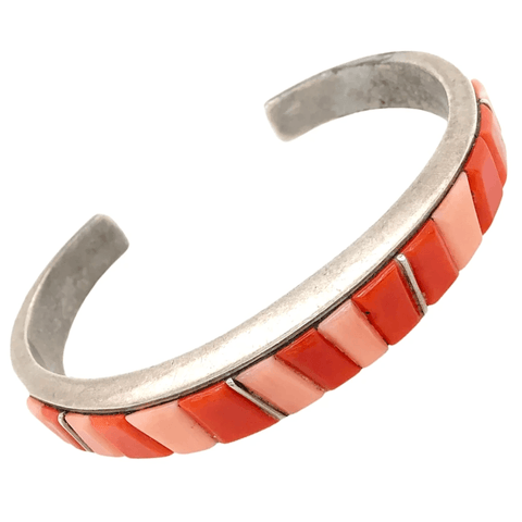 Image of Native American Bracelet - Navajo Pawn Princess Red & Pink Coral Bracelet