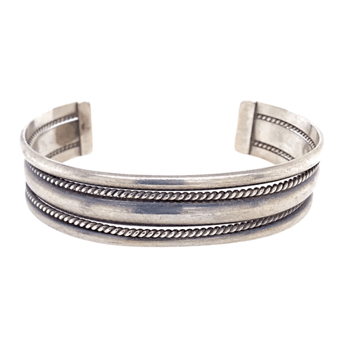 Native American Bracelet - Navajo Pawn Silver Braided Cuff