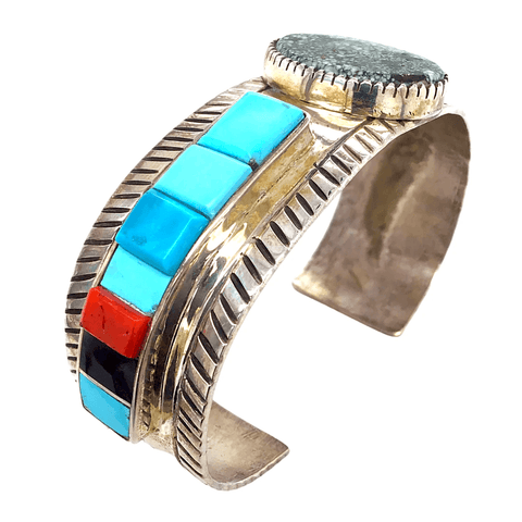 Native American Bracelet - Navajo Pawn  Spider Web And Multi  Color Modern Bracelet