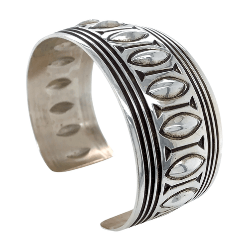 Native American Bracelet - Navajo Pawn Stamped Pattern Silver Cuff