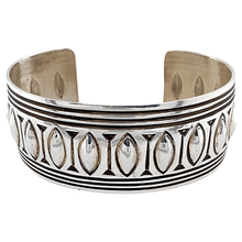 Load image into Gallery viewer, Native American Bracelet - Navajo Pawn Stamped Pattern Silver Cuff