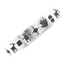 Load image into Gallery viewer, Native American Bracelet - Navajo Pawn Stamped Petroglyph Symbols Silver Bracelet