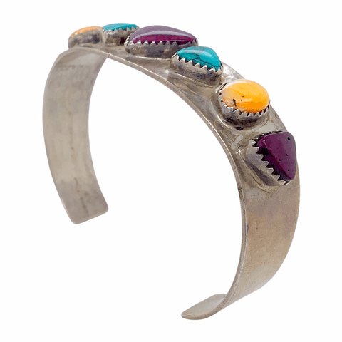 Image of Native American Bracelet - Navajo Pawn Sweetheart Turquoise And Spiny Oyster Silver Cuff Bracelet