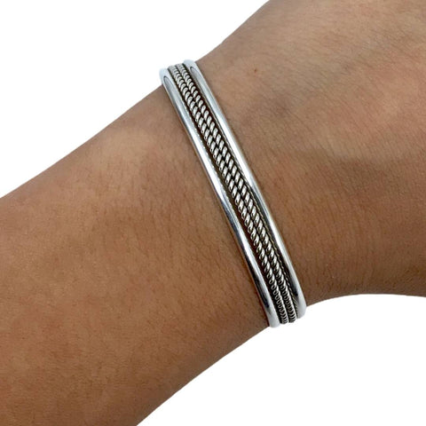 Image of Native American Bracelet - Navajo Petite Children's Small Sterling Silver Twist-wire Cuff Bracelet - Native American