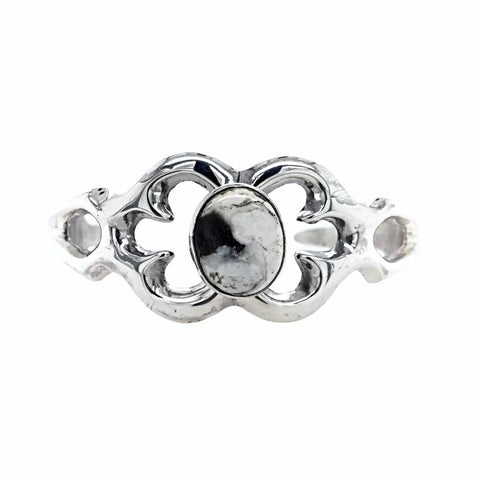 Image of Native American Bracelet - Navajo Petite Small White Buffalo Stone Casted Sterling Silver Bracelet - Native American