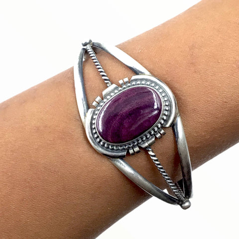 Image of Native American Bracelet - Navajo Purple Spiney Oyster Sterling Silver Twist Wire Bracelet - Sheila Becenti - Native American