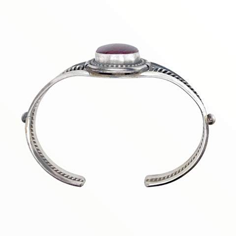 Native American Bracelet - Navajo Purple Spiney Oyster Sterling Silver Twist Wire Bracelet - Sheila Becenti - Native American
