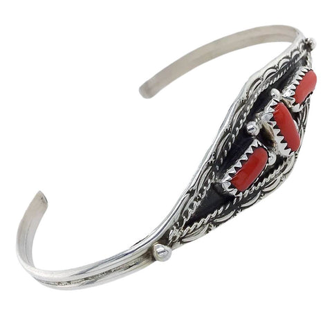 Native American Bracelet - Navajo Red Coral Cluster Sterling Silver Cuff Bracelet - Esther White