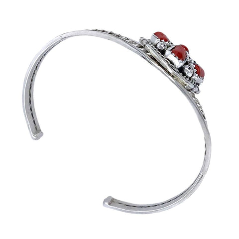 Native American Bracelet - Navajo Red Coral Cluster Sterling Silver Cuff Bracelet - M. Chee - Native American
